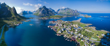 Norway aerial panorama. Scenic aerial view of fishing town Reine on Lofoten islands, Norway