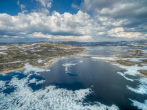 Norway. Aerial scenic view of icy lake in Norway, Hardangervidda Royalty Free Stock Image