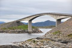 Norway Atlantic Road. Storseisundet Bridge on Norway Atlantic Road. National Tourist Route Royalty Free Stock Photos