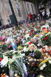 Norway after attacks. Flowers and candles in front of Domkirken in Norway, Oslo as a memory to recent attacks. 2 days after explosion and shooting on Utøya stock photography