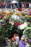 Norway after attacks. Flowers and candles in front of Domkirken in Norway, Oslo as a memory to recent attacks. 2 days after explosion and shooting on Utøya stock photo