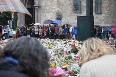Norway after attacks. Flowers and candles in front of Domkirken in Norway, Oslo as a memory to recent attacks. 2 days after explosion and shooting on Utøya royalty free stock photos
