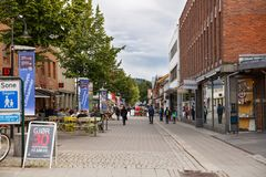 Street in Lillehammer. Norway-August 20, 2014 -  The people in the street in Norwegian Lillehammer town Royalty Free Stock Photo