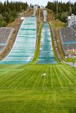 Ski jump slope in Lillehammer. Norway-August 21, 2014 -  Ski jump slope Lysgardsbakken, opened in 1993, specifically to the XVII Olympic Winter Games in 1994 Stock Photo