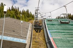 Ski jump slope in Lillehammer. Norway-August 21, 2014 -  Ski jump slope Lysgardsbakken, opened in 1993, specifically to the XVII Olympic Winter Games in 1994 Stock Photography