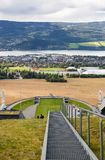 Lillehammer. Norway-August 21, 2014 -  Top view of Lillehammer from Ski jump slope Lysgardsbakken, opened in 1993, specifically to the XVII Olympic Winter Games Stock Photos