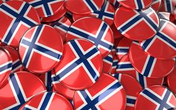 Norway Badges Background - Pile of norwegian Flag Buttons. 3D Rendering Royalty Free Stock Photo
