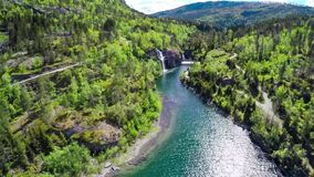 Norway, Beautiful Landscape, Mountains, Drone Flying, Arctic Lake Stock Photo