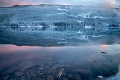 Norway, reflection at sunset royalty free stock photography