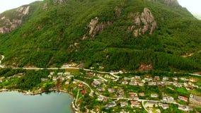 norway Bello paesaggio della Norvegia Villaggio del ` s del pescatore della Norvegia archivi video
