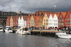 Norway - Bergen, Bryggen Hanseatic Wharf. Bryggen, the old wharf of Bergen, is a reminder of the town's importance as part of the Hanseatic League's trading Stock Photography