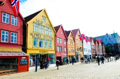 Norway Bergen, Bryggen Historical Buildings, Travel Destinations Scenics, North Europe Stock Image