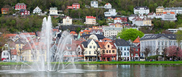 NORWAY, BERGEN - MAY 15, 2012: View of Lille Lungegardsvannet in the centre of the city of Bergen in Hordaland county. View of Lille Lungegardsvannet in the royalty free stock photo