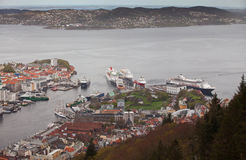 NORWAY, BERGEN -15 MAY 2012: View of  Vagen bay in the centre of the city of Bergen in Hordaland county, 15 may 2012, Bergen, Norw Royalty Free Stock Images