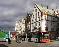 Norway Bergen Street View. Local traffic in Bergen town - Street view. Norway Royalty Free Stock Image