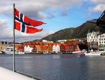 Norway Bergen. View of the famous Bryggen in Bergen town seen from cruise ship. Norway, UNESCO Heritage Landmark Royalty Free Stock Photos