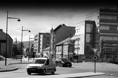 Norway black and white city streets background Royalty Free Stock Photography