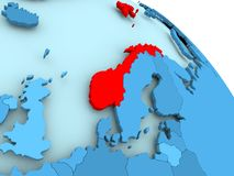 Norway on blue globe. Norway highlighted on blue 3D model of political globe. 3D illustration Stock Photo