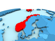 Norway on blue globe. Norway in red on simple blue political globe. 3D illustration Stock Images