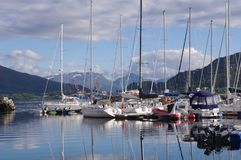 Norway. Boats Harbor IN the norwsysea. Yachts spaces royalty free stock photography