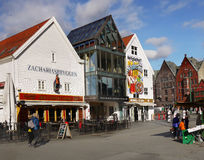 Norway Bryggen Wharf Bergen Street Royalty Free Stock Images