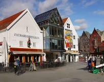 Norway Bryggen Wharf Bergen Street. ZachariasBryggen Restaurant and Jack´s Country Saloon. Bryggen street view in Bergen. Norway Royalty Free Stock Images