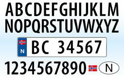 Norway car plate, letters, numbers and symbols Royalty Free Stock Photos