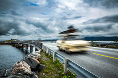 Norway. Car travels on the highway. Royalty Free Stock Image
