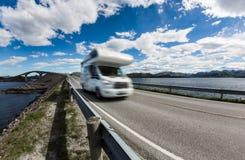 Norway. Caravan car travels on the highway. Caravan car RV travels on the highway. Caravan Car in motion blur. Norway. Atlantic Ocean Road or the Atlantic Road Royalty Free Stock Image