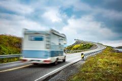 Norway. Caravan car travels on the highway. Stock Photo