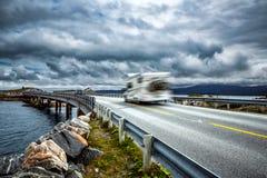 Norway. Caravan car travels on the highway. Stock Photos
