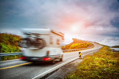 Norway. Caravan car travels on the highway. Royalty Free Stock Photography