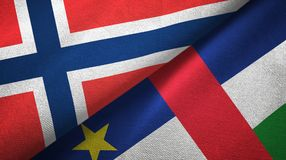 Norway and Central African Republic two flags textile fabric texture vector illustration