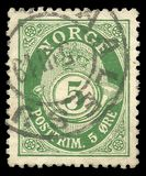 Posthorn NORGE in Roman Capitals on postage stamp of 5 ore cost royalty free stock photo