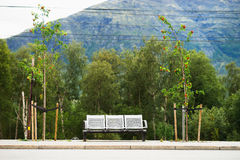 Norway city bus bench transport background Stock Image