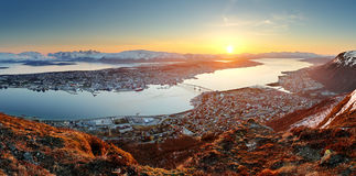 Norway city panorama - Tromso at sunset Stock Photos