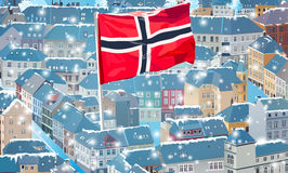 Norway city. Norway traditional city at summer season with big flag. Tourist postcard concept vector illustration