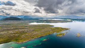 Norway coast aerial drone view Stock Images