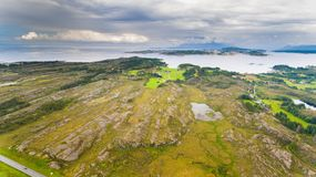 Norway coast landscape aerial drone view Royalty Free Stock Image