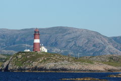 Norway coast landscape view 7. View of Norway coast and lighthouse from a cruise boat Stock Image