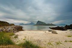 Norway coast. Ocean beach. Vacation in Norway. Lofoten islands royalty free stock images