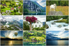 Norway, collage. Natural landscapes, fjords Royalty Free Stock Images