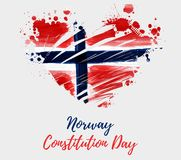 Norway Constitution day background. Holiday background with grunge watercolor imitation flag of Norway in grunge heart shape. Norway Constitution day, 17 may vector illustration