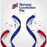 Norway Constitution Day Flag Vector Template Design Illustration. May kingdom background symbol icon norwegian banner 17 colorful bright document award official royalty free illustration