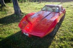 Corvette veteran vintage sports car. Norway, 2012: Corvette veteran red vintage sports car Royalty Free Stock Images