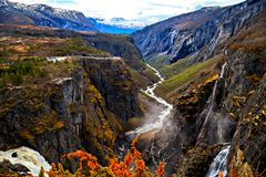 Norway is country of waterfalls, fjords and rivers Royalty Free Stock Photo