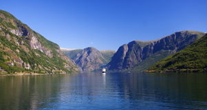 Norway - Cruise ship on fjord Stock Photo