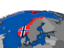 Norway on 3D globe Stock Photos
