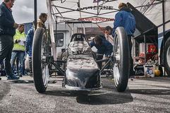 Norway drag racing, black race car front view Royalty Free Stock Photo