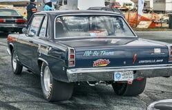 Norway drag racing, dark navy racing car Royalty Free Stock Photo